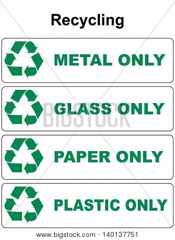 Waste sorting and recycling isolated symbol with text metal glass paper plastic flat isolated on white vector illustration