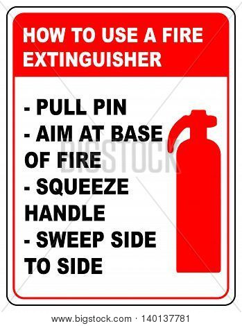 How to use a fire extinguisher informational banner vector symbol and text