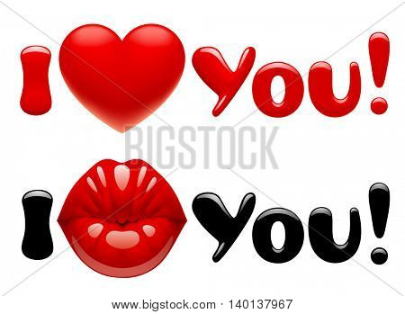 Valentine greeting cards with female glossy kissing red lips, heart and letters. 3D Illustration