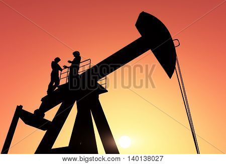 3d illustration of the workers in the oil extraction.