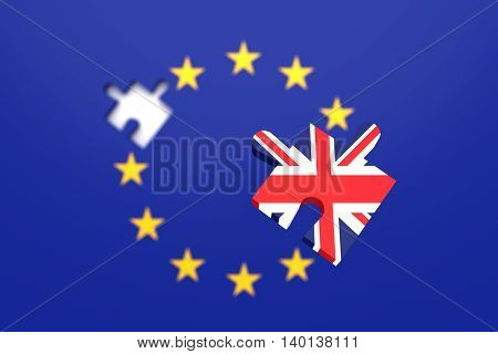 Missing puzzle piece: Great Britain leaving the EU 3d illustration