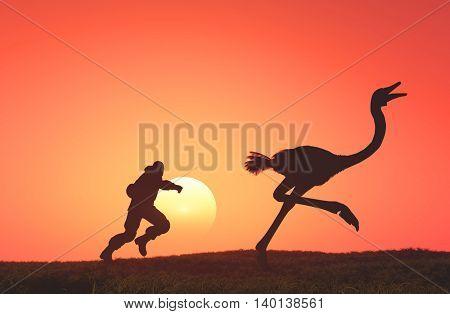 Man runs for ostrich.3d render