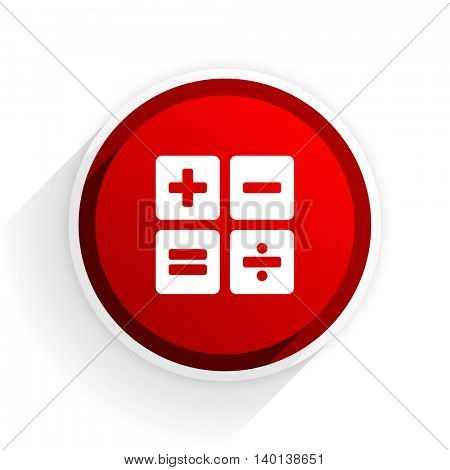 calculator flat icon with shadow on white background, red modern design web element