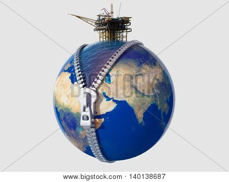 Oil production on the globe.3d render