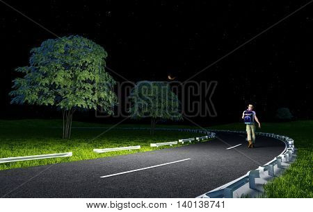 The man on the road at night.3d render