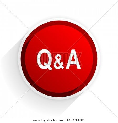 question answer flat icon with shadow on white background, red modern design web element