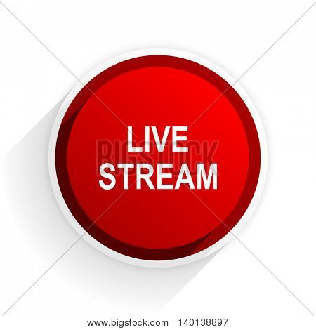 live stream flat icon with shadow on white background, red modern design web element