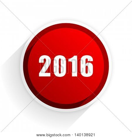 year 2016 flat icon with shadow on white background, red modern design web element