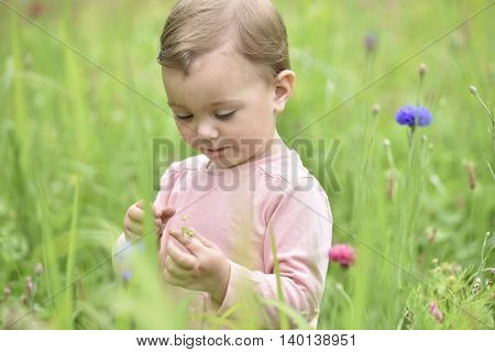 Cute 2-year-old girl playing in wild flower field