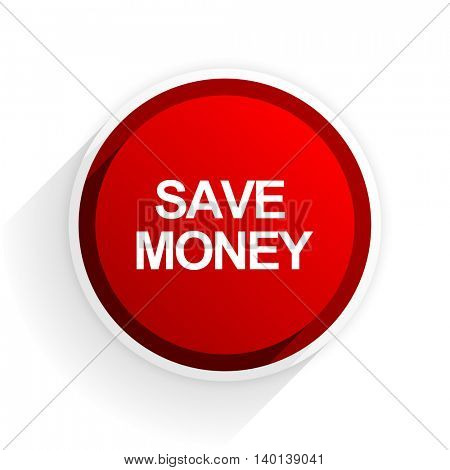 save money flat icon with shadow on white background, red modern design web element