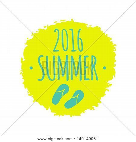 2016 Summer flip flops sketch isolated yellow circle vector