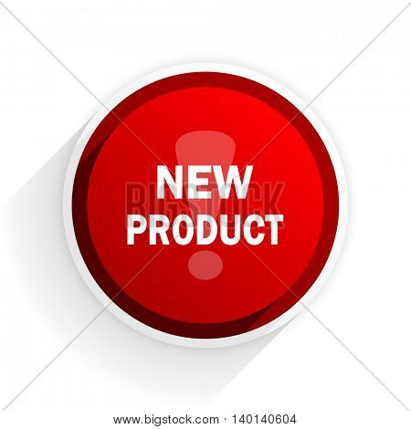 new product flat icon with shadow on white background, red modern design web element