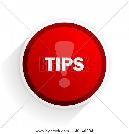 tips flat icon with shadow on white background, red modern design web element