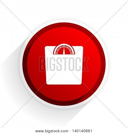 weight flat icon with shadow on white background, red modern design web element