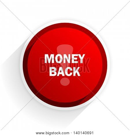 money back flat icon with shadow on white background, red modern design web element