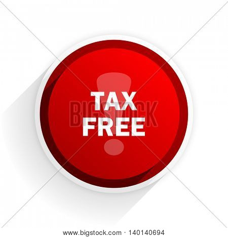 tax free flat icon with shadow on white background, red modern design web element
