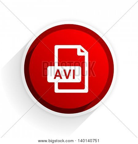 avi file flat icon with shadow on white background, red modern design web element