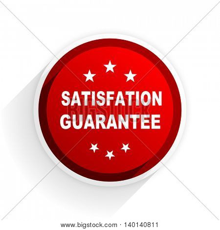 satisfaction guarantee flat icon with shadow on white background, red modern design web element