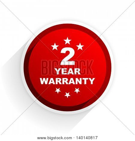 warranty guarantee 2 year flat icon with shadow on white background, red modern design web element