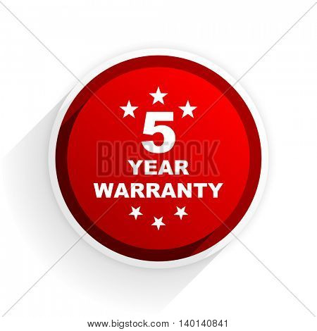 warranty guarantee 5 year flat icon with shadow on white background, red modern design web element