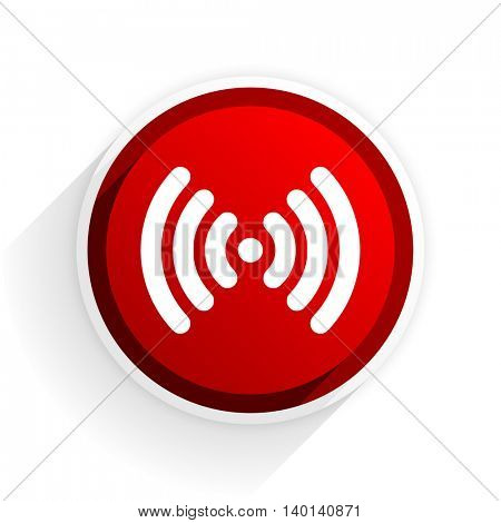 wifi flat icon with shadow on white background, red modern design web element