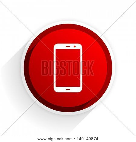 smartphone flat icon with shadow on white background, red modern design web element