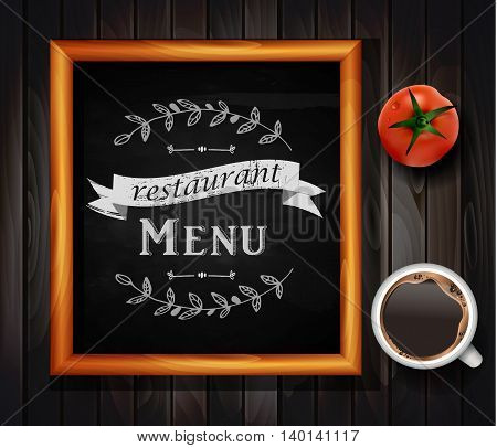 Menu on Chalkboard background with hand drawn ornament for restaurant in wooden frame on wooden background with two tomatos coffee