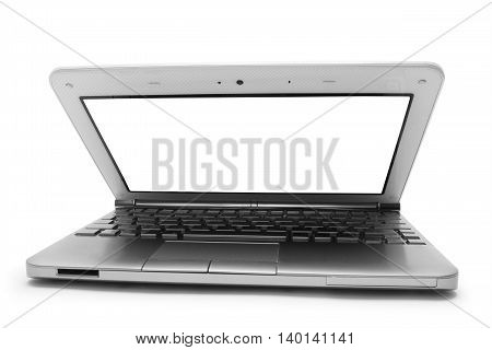 open silver notebook with white monitor on a white background isolated