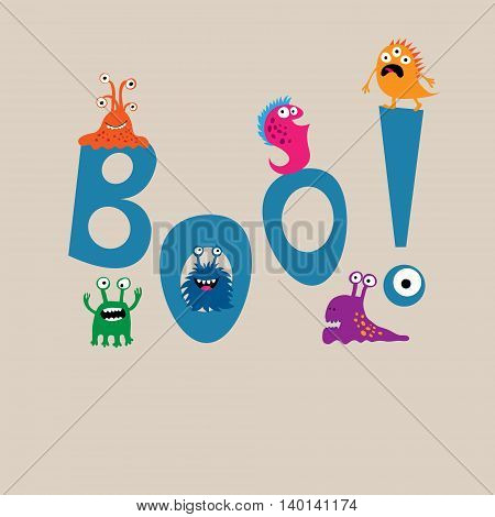 Cute Monsters On The Background Of The Word Boo