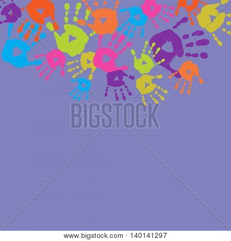 The abstract background with a children's handprints