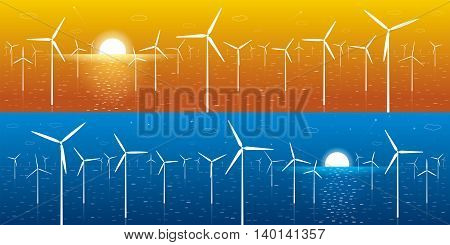 Ecology panorama, windmills, turbines at sea, wind force, energy illustration, day and night, vector design art