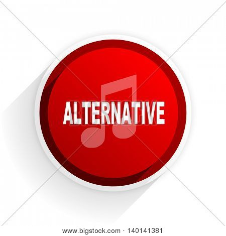 alternative music flat icon with shadow on white background, red modern design web element