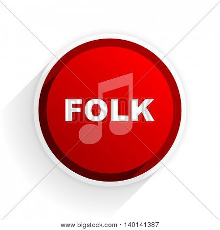 folk music flat icon with shadow on white background, red modern design web element