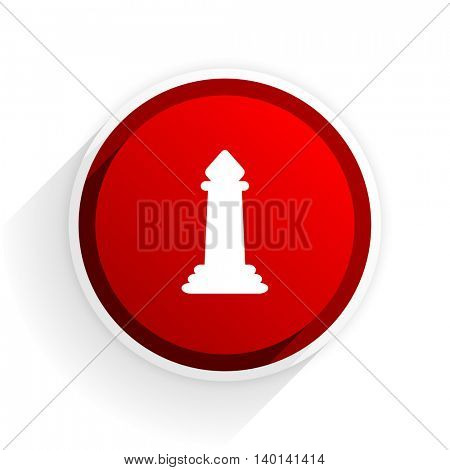 chess flat icon with shadow on white background, red modern design web element