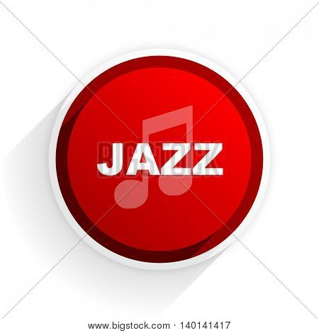 jazz music flat icon with shadow on white background, red modern design web element