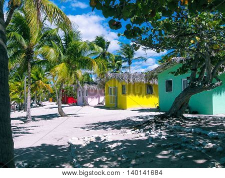 The view of the Caribbean Sea with colorful houses and coconut palms and white sand of the tropical island of Catalina