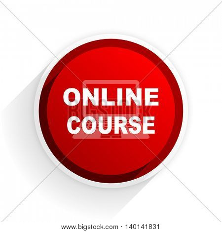 online course flat icon with shadow on white background, red modern design web element