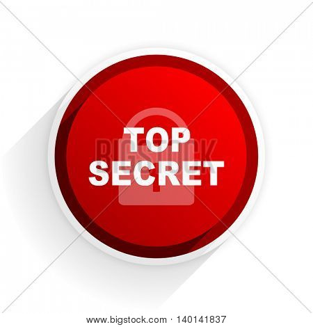 top secret flat icon with shadow on white background, red modern design web element