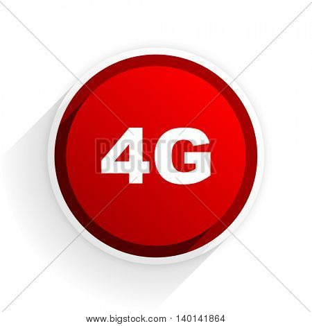 4g flat icon with shadow on white background, red modern design web element
