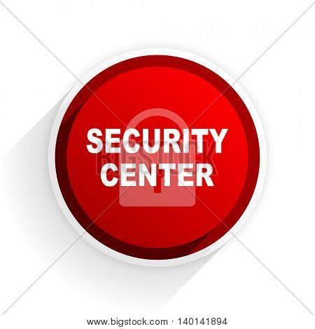 security center flat icon with shadow on white background, red modern design web element