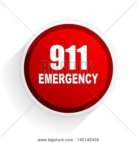 number emergency 911 flat icon with shadow on white background, red modern design web element