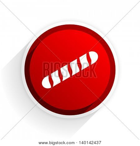 baguette flat icon with shadow on white background, red modern design web element