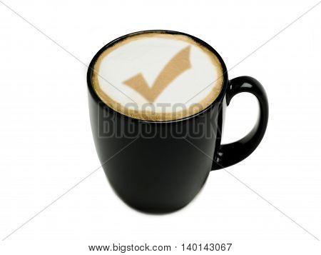check mark cappuccino isolated on white background