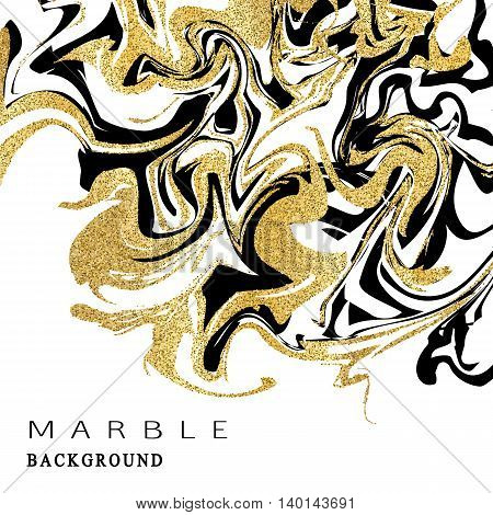 Marbling texture background. Abstract marble luxury design with golden glitter elements. Vector illustration.