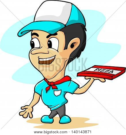 Stylised cartoon pizza delivery man. Isolated on white