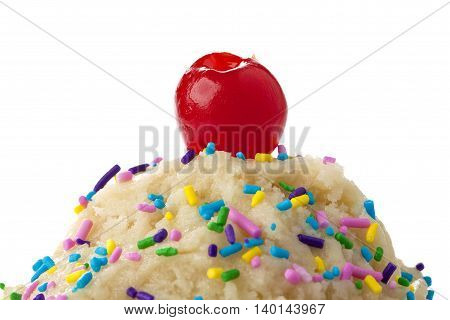 closed up ice cream with toppings isolated on white background