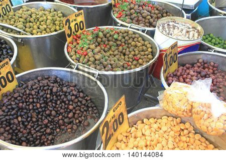 Various types of olives in Italian market
