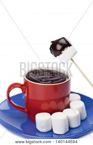 cup of chocolate with white mallows isolated on white background