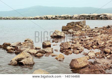Stones on sea side