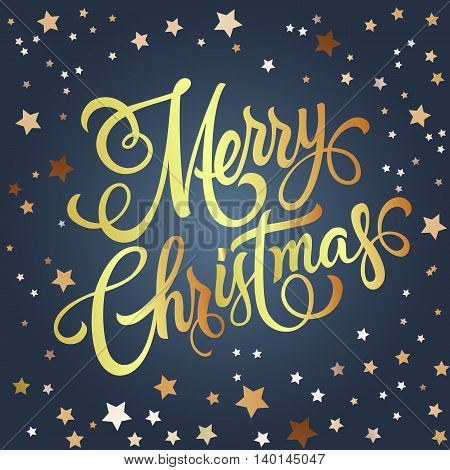 Merry Christmas lettering. Christmas greeting card with stars. Handwritten text, calligraphy. For greeting cards, posters, leaflets and brochure.